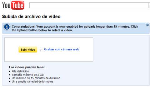 Youtube permite subir videos de más de 15 minutos para algunas cuentas