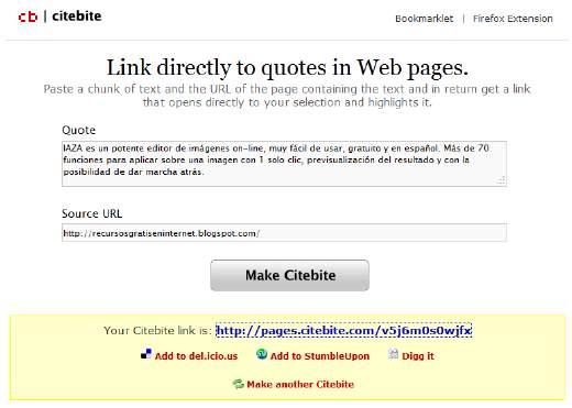 Citebite. Comparte de manera ingeniosa el texto de una web