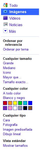 Resultados ordenados por temas en Google imágenes
