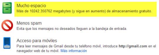 Ahora !0 Gb en las cuentas de Gmail
