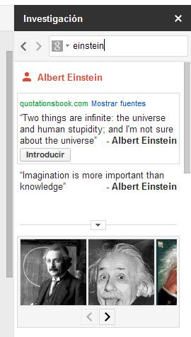 Panel de investigación en Google Drive