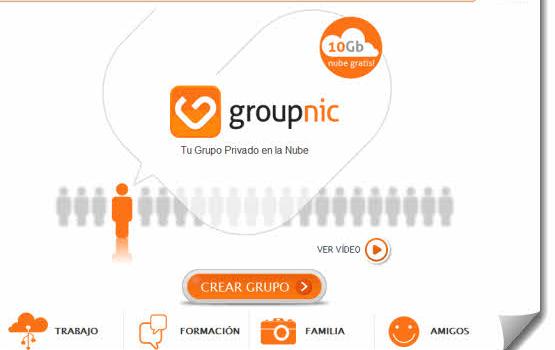Groupnic. Crea tu grupo en la nube para compartir hasta 10 Gb gratis