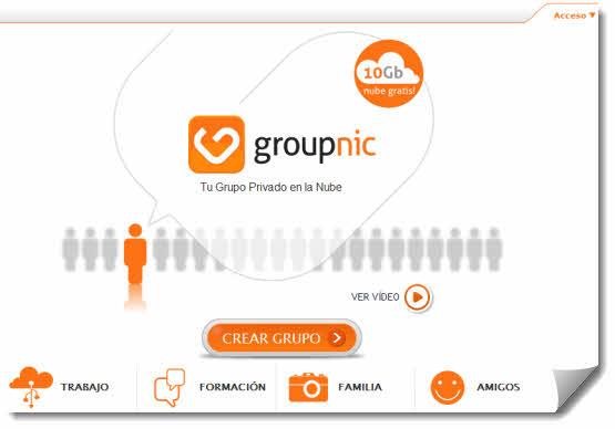 Groupnic. Crea tu grupo en la nube para compartir hasta 10Gb gratis