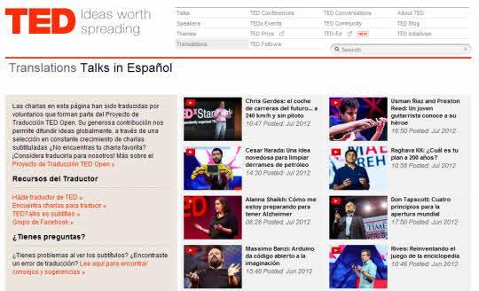 TED. Difusión de ideas innovadoras en español