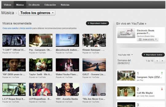 Disfruta gratis de toda la música en el canal de música de Youtube