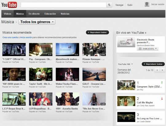 El canal de música de Youtube