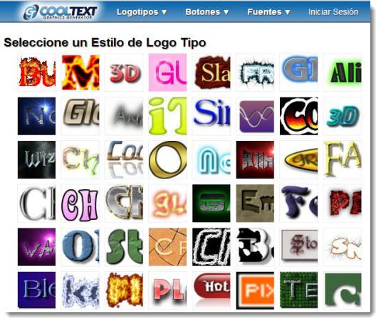 Cooltext. Logotipos y efectos de texto gratis