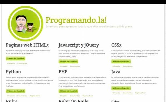 Programando.la. Tutoriales, videos y documentos para aprender a programar, en español