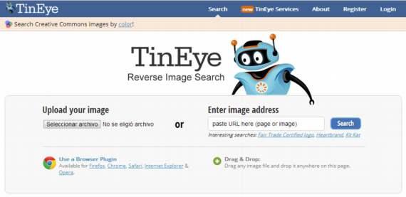 TinEye. Buscador de imágenes similares o por color
