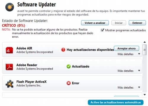 Software updater en Avast Free 8