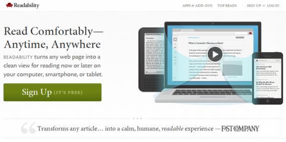 Readability. Visualizar textos on-line de manera limpia, ahora o más tarde