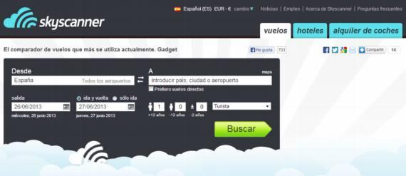 Skyscanner. Buscador de vuelos y hoteles de bajo costo en español