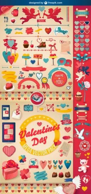 Pack de elementos gráficos para San Valentín