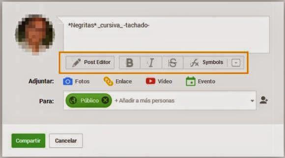 Una aplicación que mejora la caja de edición de texto de Google+