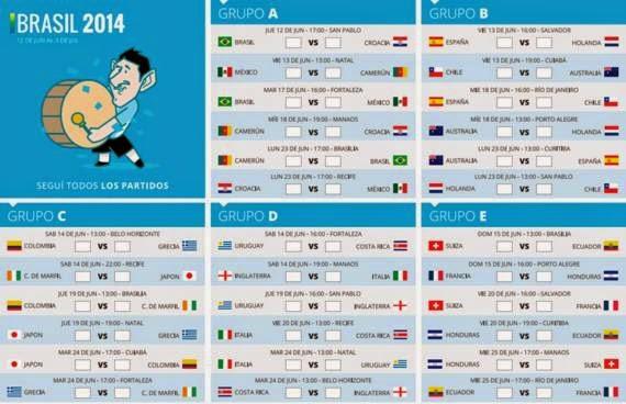 Fixture Mundial Brasil 2014 hora argentina