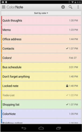 ColorNote. Bloc de notas para Android