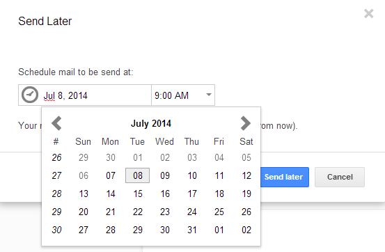 Programar envios para fechas futuras en Gmail