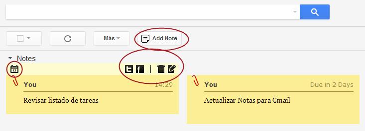 Notas en la bandeja de entrada de Gmail