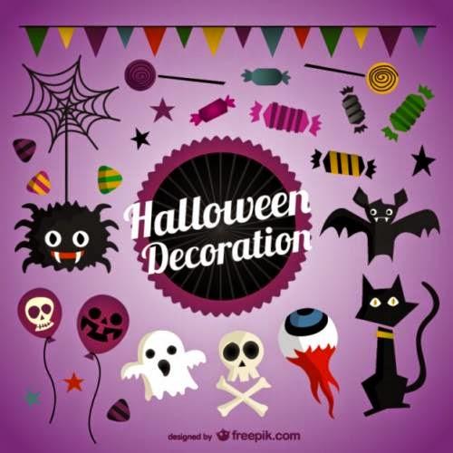 Elementos gráficos vectoriales para Halloween