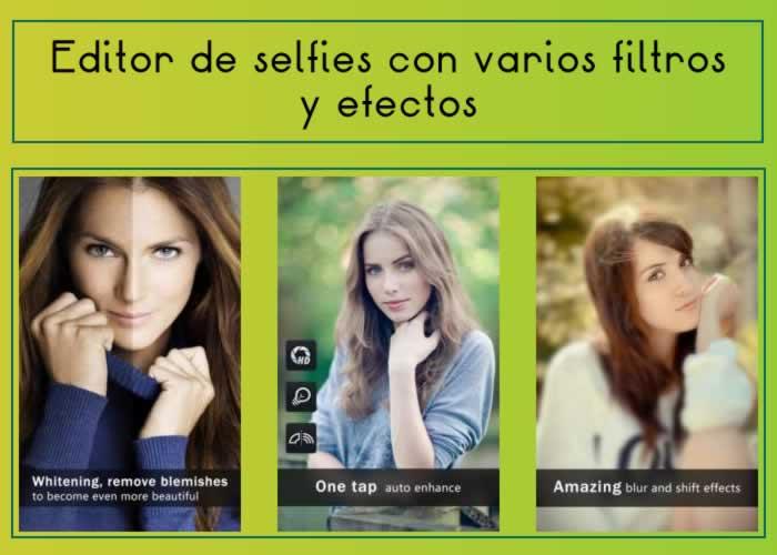 Editor de selfies con filtros y efectos para Android