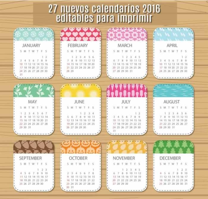 27 nuevos calendarios 2016 editables y listos para imprimir