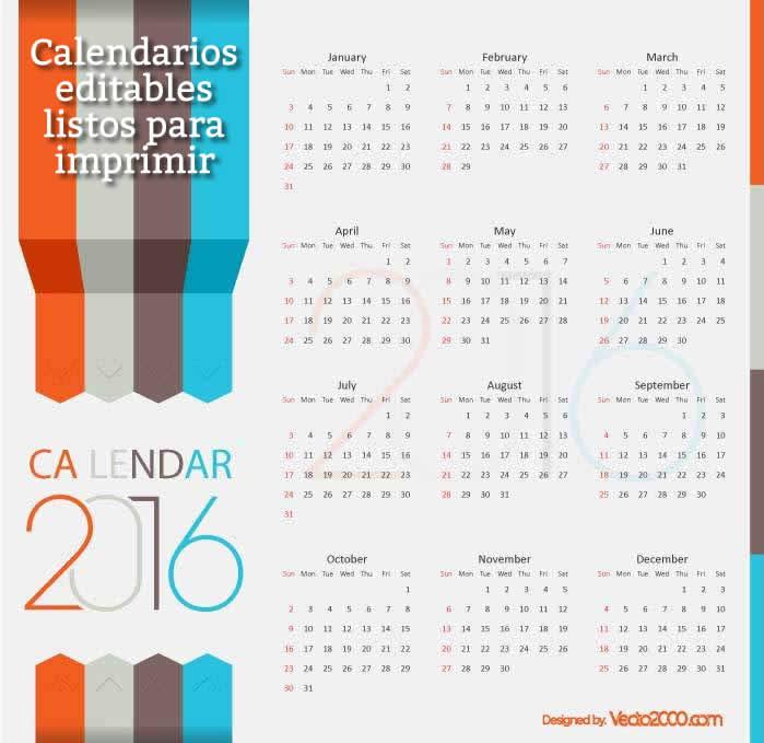 calendarios 2016 editables y listos para imprimir | Recursos Gratis ...