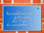 Recordatorio de lo publicado del 9 al 14 de noviembre