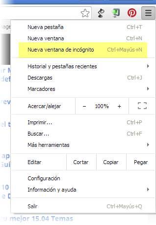 Navegación anónima en Chrome