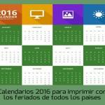 Calendarios 2016 para imprimir con los feriados de cada país