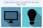 Aplicación on-line para construir coloridos iconos Flat