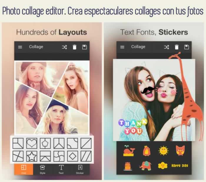 Photo collage editor. Crea espectaculares collages con tus fotos