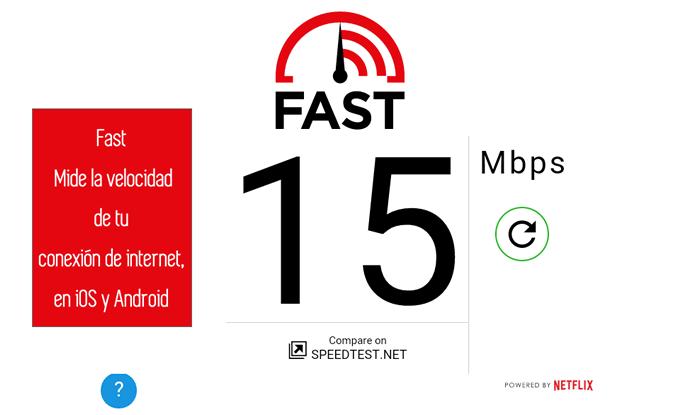 Fast. Mide la velocidad de tu conexión de internet, en iOS y Android
