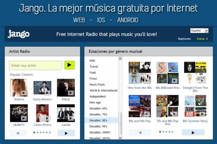 Jango. La mejor música gratuita por Internet vía web, iOS y Android