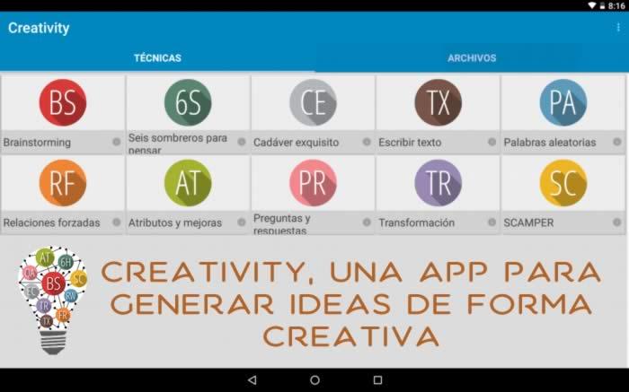 Creativity, una aplicación para generar ideas de forma creativa