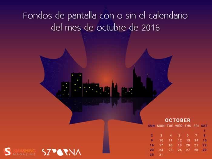 Fondos de pantalla con o sin el calendario del mes de octubre de 2016