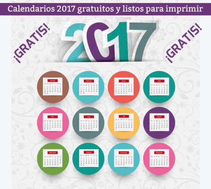 Calendarios 2017 listos para descargar e imprimir gratis | Recursos ...
