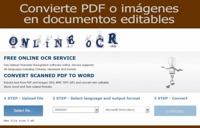 OnlineOCR. Convierte imágenes y PDF en documentos editables