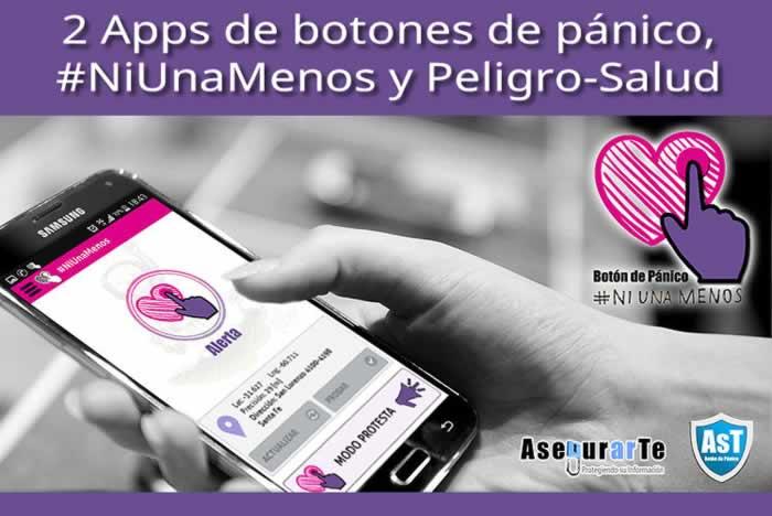2 Apps de botones de pánico, #NiUnaMenos y Peligro-Salud