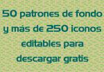 50 patrones de fondo y más de 250 iconos editables, gratis