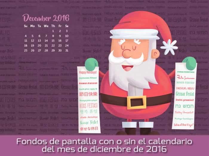 Fondos de pantalla con o sin el calendario del mes de diciembre de 2016
