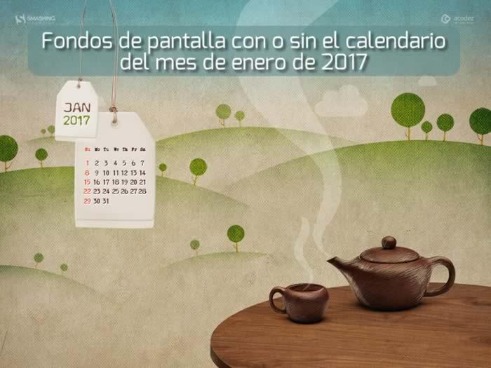 Fondos de pantalla con o sin el calendario del mes de enero de 2017