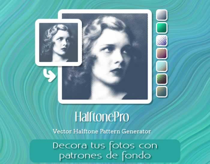 HalftonePro. Decora tus fotos con distintos patrones de fondo