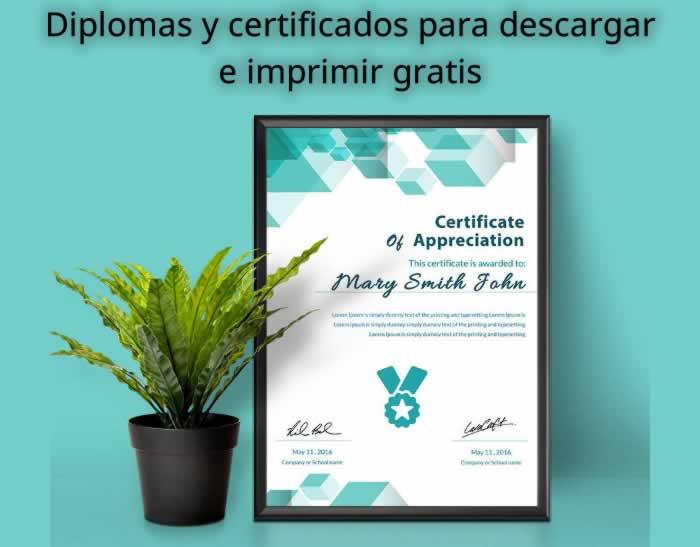Diplomas y certificados editables para descargar e imprimir gratis