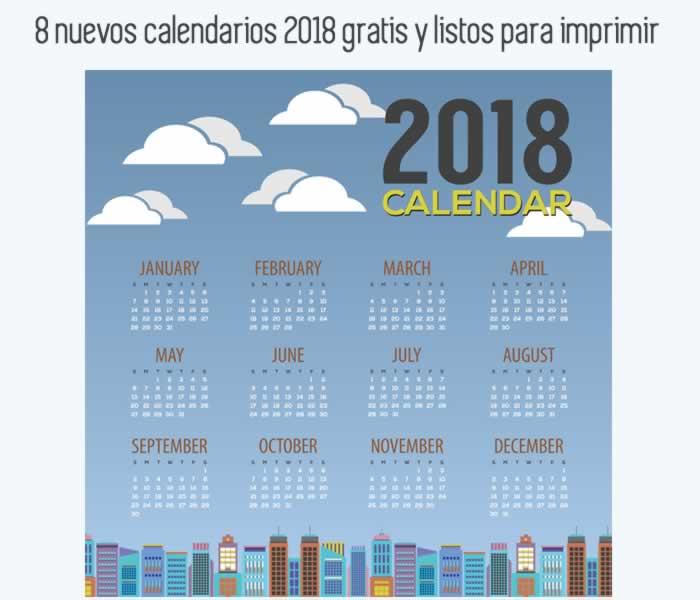 8 nuevos calendarios 2018 gratis y listos para imprimir