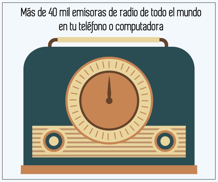 Más de 40 mil emisoras de radio de todo el mundo en tu teléfono o computadora