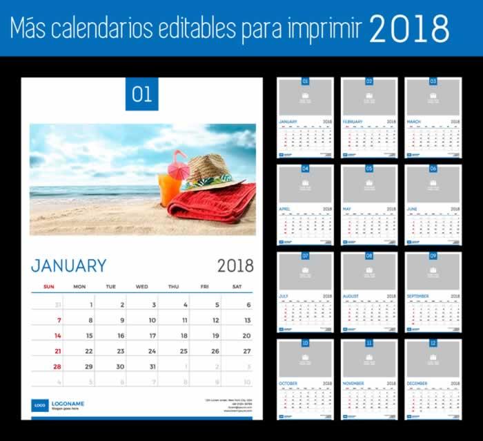 Calendarios 2018 Para Editar