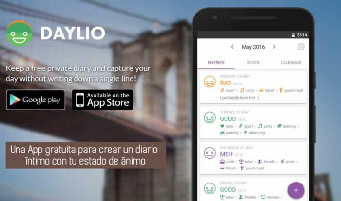 Una App gratuita para crear un diario íntimo con tu estado de ánimo