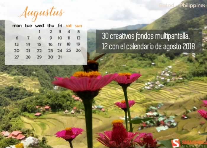 30 creativos fondos multipantalla, 12 con el calendario de agosto 2018