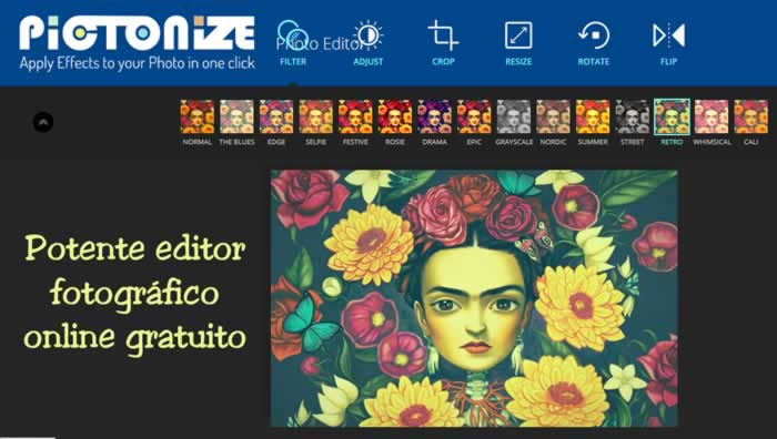 Potente editor fotográfico online gratuito