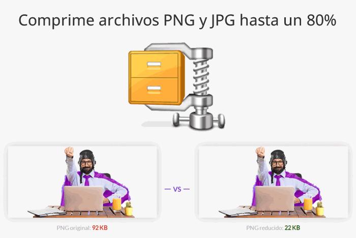 Comprime archivos PNG y JPG hasta un 80%
